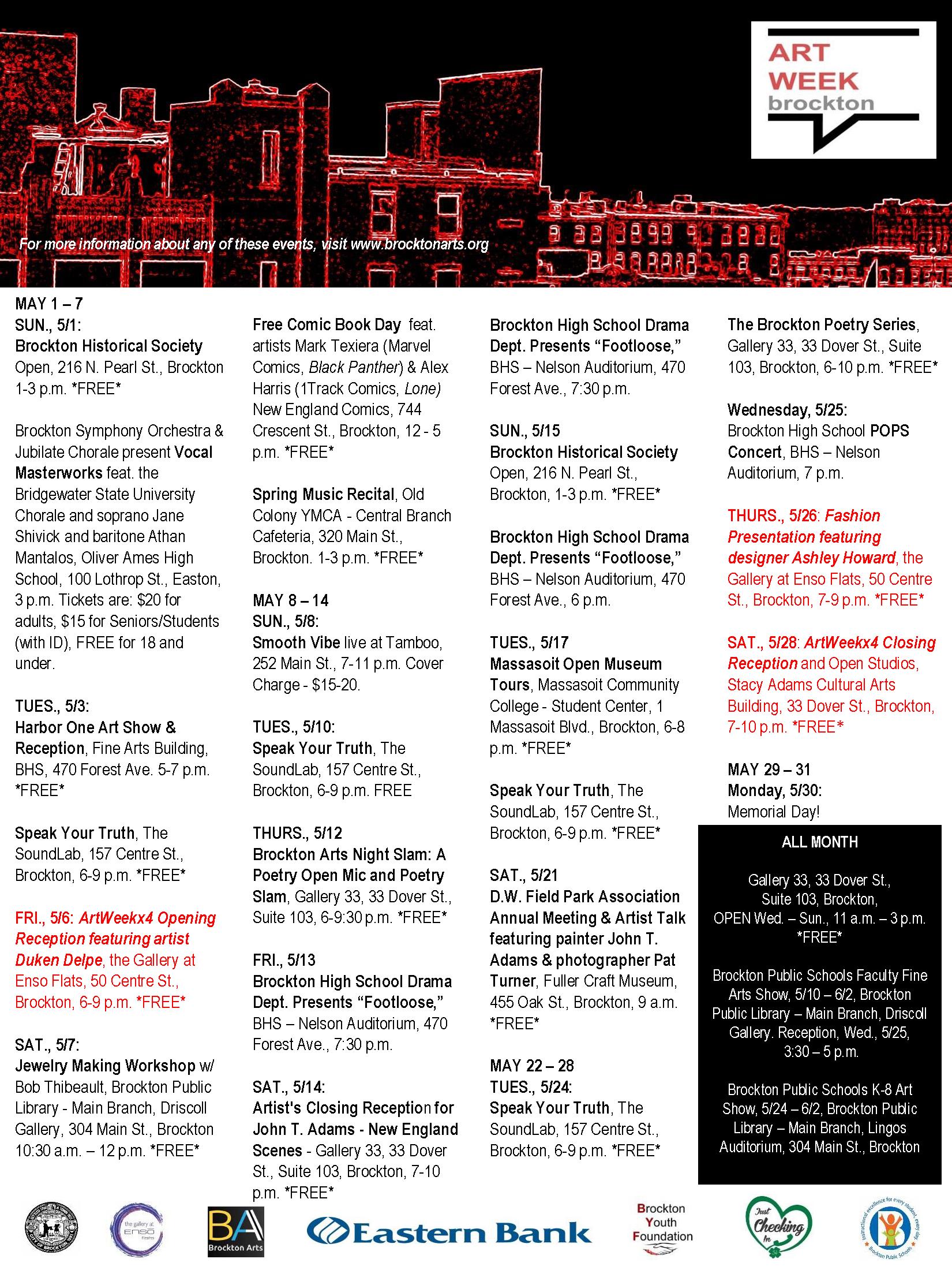 Updated ArtWeek 4 Brockton May calendar - 2016[2]