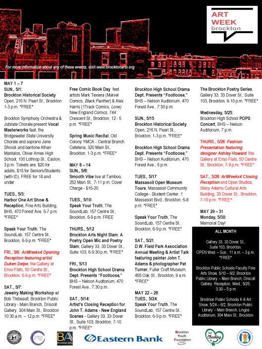 Updated ArtWeek 4 Brockton May calendar - 2016[2]
